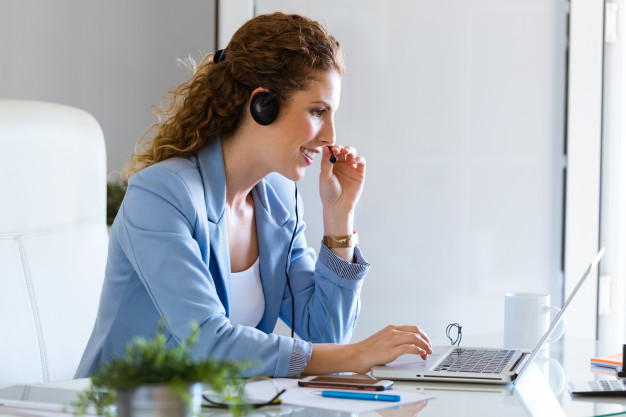 lady talking on headset phone
